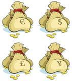 袋子货币集 免版税库存图片
