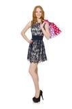 袋子购物的妇女 免版税图库摄影