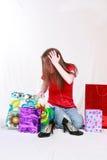 袋子购物的强调的青少年 免版税库存照片
