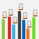被举的手举行智能手机平的设计 库存照片