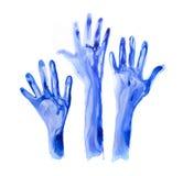 被举的手由水彩制成 水彩织地不很细收藏 免版税库存照片