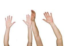 被举的手 免版税库存图片