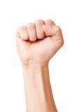 被举的握紧拳头  免版税库存图片