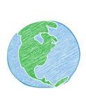 被乱写的地球 免版税库存照片