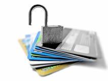 被乱砍的和脆弱的不安全的无担保的身分和财政偷窃概念 免版税库存图片