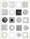被乱画的圈子和正方形 免版税库存照片