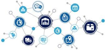 被互联的后勤学/供应链过程在聪明的公司-例证中 向量例证