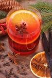 被仔细考虑的酒为圣诞节时间或冬天晚上用香料和云杉的分支 免版税库存图片