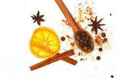 被仔细考虑的酒加香料成套工具 准备的被仔细考虑的酒或热的饮料,关闭香料成套工具  加香料成套工具概念 匙子与 图库摄影