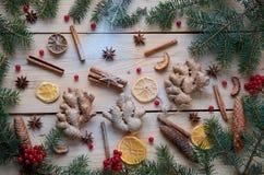 被仔细考虑的酒圣诞节面包店桔子的,茴香,桂香,姜,在木背景的荚莲属的植物搽粉的香料 库存图片