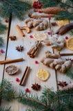 被仔细考虑的酒圣诞节面包店桔子的,茴香,桂香,姜,在木背景的荚莲属的植物搽粉的香料 免版税库存图片