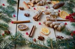 被仔细考虑的酒或圣诞节面包店桔子的,茴香,桂香,姜,在木背景的未加工的红色荚莲属的植物莓果搽粉的香料 免版税库存图片
