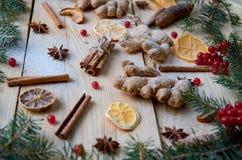 被仔细考虑的酒或圣诞节面包店桔子的,茴香,桂香,姜,在木背景的未加工的红色荚莲属的植物莓果搽粉的香料 库存照片
