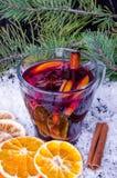 被仔细考虑的酒用桂香和桔子 库存图片