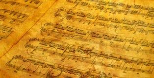 被仿古的音乐纸张 库存照片