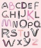 被仿造的信函,字母表鞋带 免版税库存照片