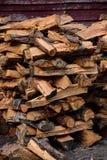 被仿造的被堆积的火木头 免版税库存图片