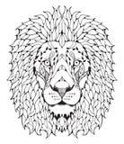 被传统化的狮子顶头zentangle 免版税库存照片
