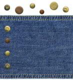 被佩带的蓝色牛仔布部分 免版税库存图片