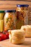 被保存的菜和蘑菇 库存图片