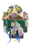 被修建的电子有小房子的人 免版税库存照片
