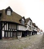 被修补的英国房子黑麦街道tudor 库存照片