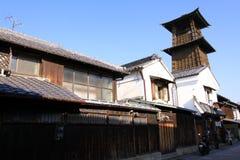 被修造时间的响铃和市Kawagoe 免版税库存照片