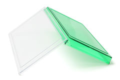 被倒置的开放绿色塑料盒 免版税库存图片