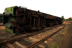 被倒置的火车 库存图片