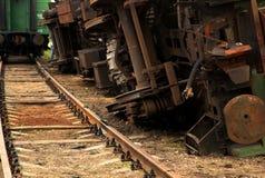 被倒置的火车 免版税库存照片