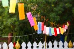 被借的佛教徒的末端的装饰灯 库存图片
