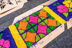 被借的地毯特写镜头,安提瓜岛,危地马拉 免版税图库摄影