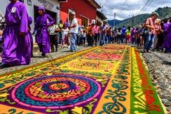 被借的游行地毯,安提瓜岛,危地马拉 库存照片