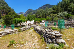 被偏移的村庄Samaria在Samaria峡谷,克利特 库存图片