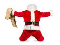 被做的疯狂的红色白色圣诞老人工作 库存照片