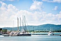 被停泊的小船和游艇在小游艇船坞在索佐波尔,保加利亚端起 库存照片
