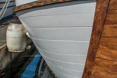 被停泊的小船特写镜头 图库摄影