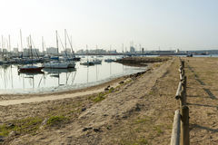 被停泊的游艇在港口,德班南非 库存照片