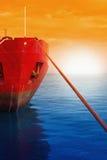被停泊的船surise 免版税图库摄影