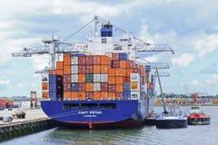 被停泊的集装箱船,鹿特丹,荷兰港  免版税库存照片