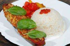 被充塞的夏南瓜,米,炖了胡椒和蕃茄,菜, 免版税库存照片