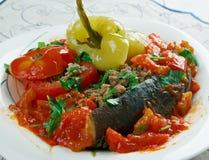 被充塞的茄子、胡椒和蕃茄 免版税图库摄影