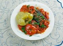 被充塞的茄子、胡椒和蕃茄 免版税库存图片