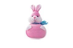 被充塞的软的桃红色兔子玩偶被隔绝在白色 库存图片