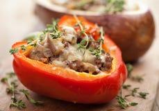 被充塞的辣椒粉用肉和蔬菜 免版税图库摄影