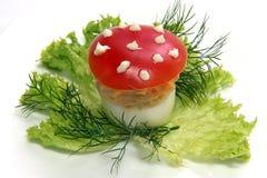 被充塞的鸡蛋用蕃茄被做象蛤蟆菌 库存图片