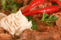 被充塞的cabage烹调罗马尼亚sarmale 免版税库存照片