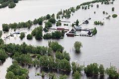 被充斥的村庄在伟大的河低地  免版税库存图片