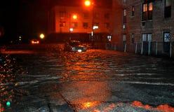 被充斥的汽车,造成由Hurricane桑迪, NY 库存照片