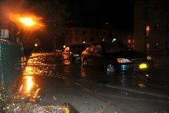 被充斥的汽车,造成由Hurricane桑迪, NY 免版税库存照片